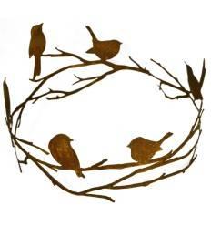 Vögel auf Astring zum Hängen und Stellen, Durchmesser 35 cm