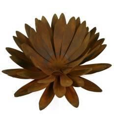 Edelrost Chrysantheme Ø 50 cm Teelichthalter auf Platte