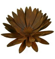 Edelrost Chrysantheme Ø 40 cm Teelichthalter auf Platte