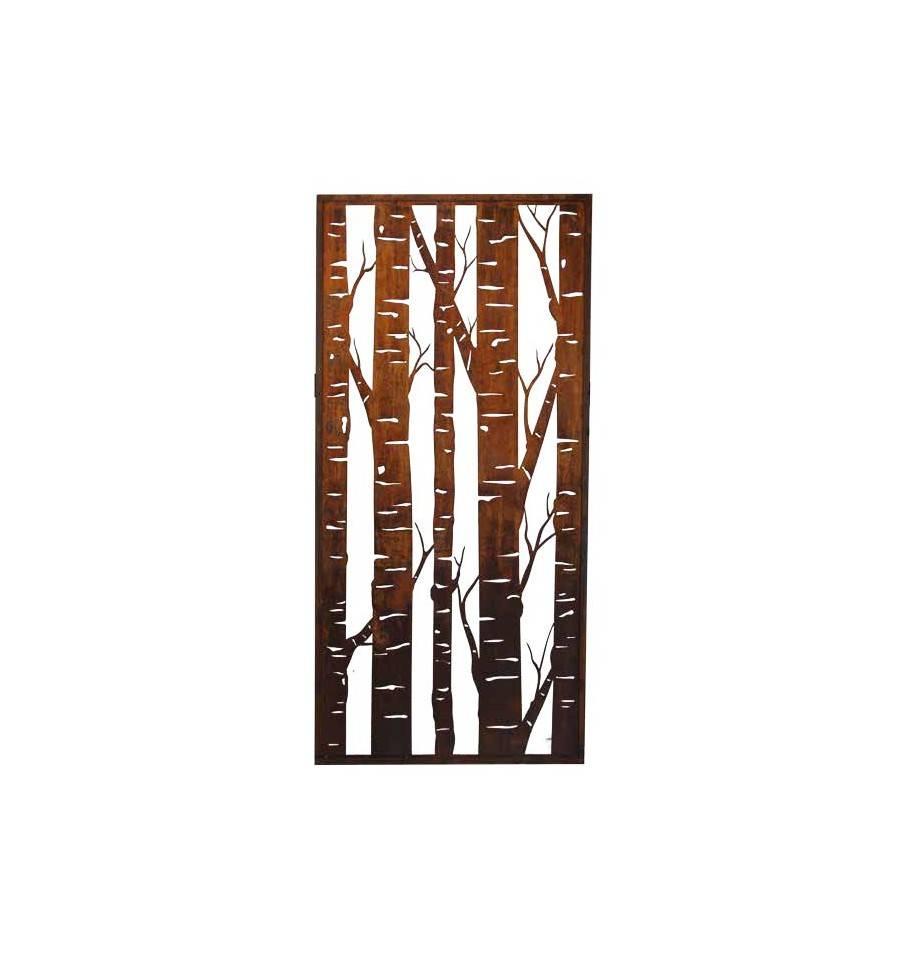 edelrost paravent mit birkenmotiv h he 200 cm breite 100 cm. Black Bedroom Furniture Sets. Home Design Ideas
