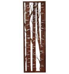 Edelrost Paravent mit Birkenmotiv schmal, Höhe 200 cm, Breite 60 cm