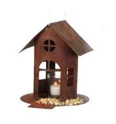 Rost Vogelhaus mit Steg, zum Hängen oder Stellen, Höhe 22 cm (groß)