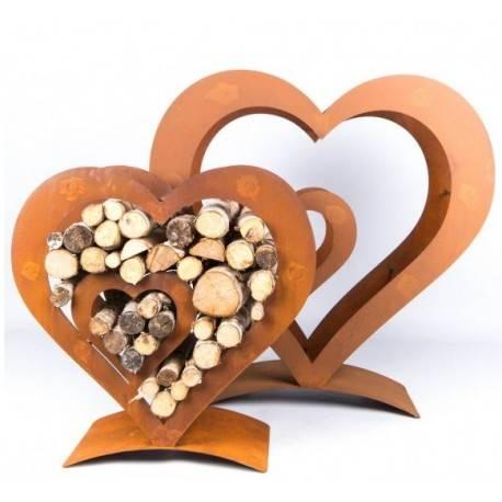Holzregal Herz mit kleinem Herz innen,  auf Platte, groß, Höhe 100 cm