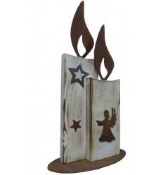 2 Kerzen 'Johann' angeflammt, Höhe 54 cm, aus Fichtenholz