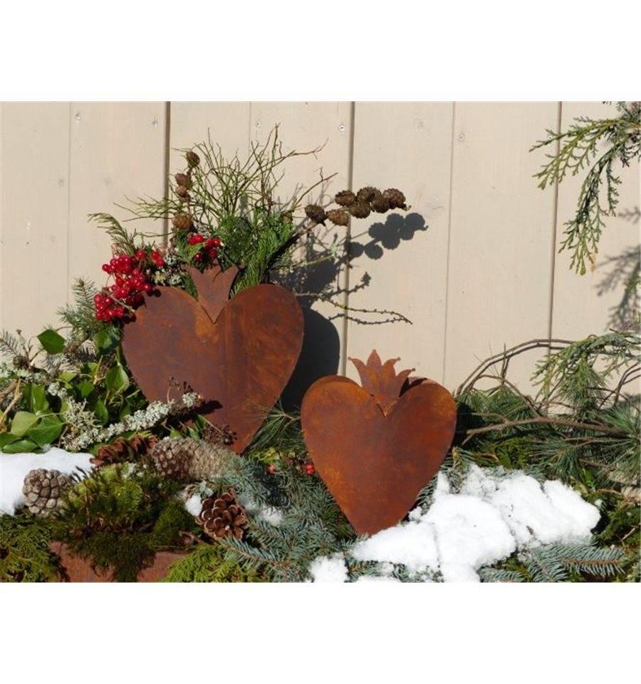 Edelrost herz mit krone zum bepflanzen auf bodenplatte for Gartendeko zum bepflanzen