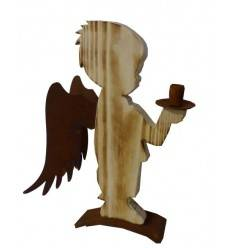 Engel 'Tobi' angeflammt, Höhe 42 cm aus Fichtenholz