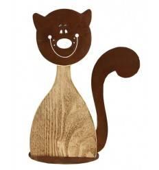 Katze 'Lucy' angeflammt, Höhe 40 cm, aus Fichtenholz