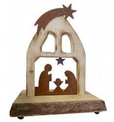Krippe 'Bethlehem' angeflammt, Höhe 40 cm, aus Fichtenholz