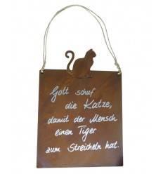 Tafel 'Tiger - Katze' inkl. Beschriftung Höhe 25cm