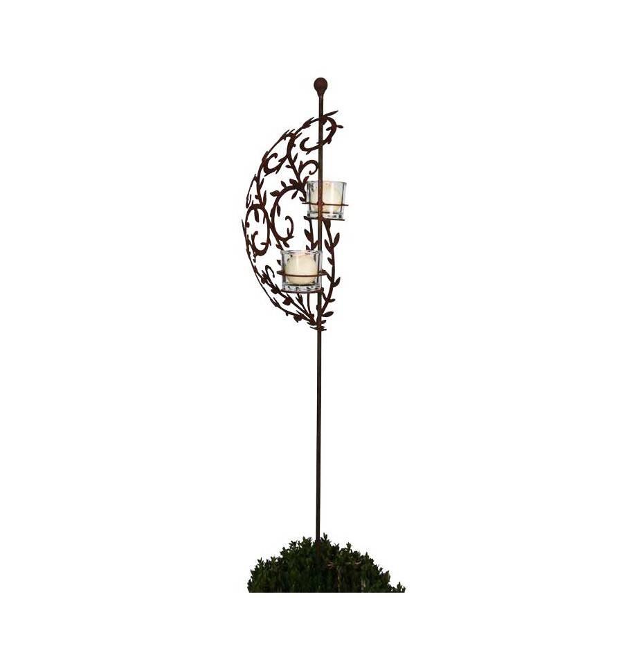 Rankensegel mit 2 halterungen f r teelichtgl ser und kugel auf stab h he160cm - Glaser dekorieren fur weihnachten ...