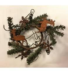 Minikranzerl mit Schneeflocken und Hirschen - rostig
