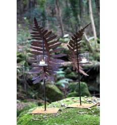 Farnfackel stehend auf eckiger Platte - Gesamthöhe 70 cm