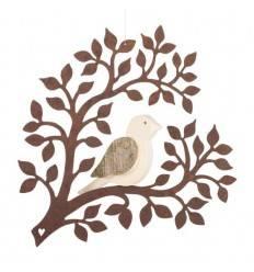 Fensterbild Holz-vögelchen auf rostigen Zweig 17 cm hoch
