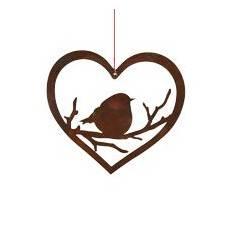 Dickes Rost Vögelchen im Herz zum Hängen - Höhe 16 cm