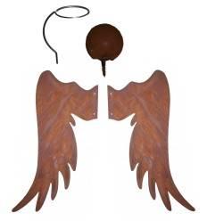 Engelsflügel Metallsatz mit Kopf und Heiligenschein Gr. 5 zum Anschrauben an Holzstamm