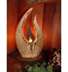 Tischleuchte Flamme 27 cm hoch inkl. Glas - Holz angeflammt
