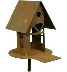 Rost-Metall Vogelhaus mit Steg und Stab zum Stecken, Höhe 19 cm (klein)