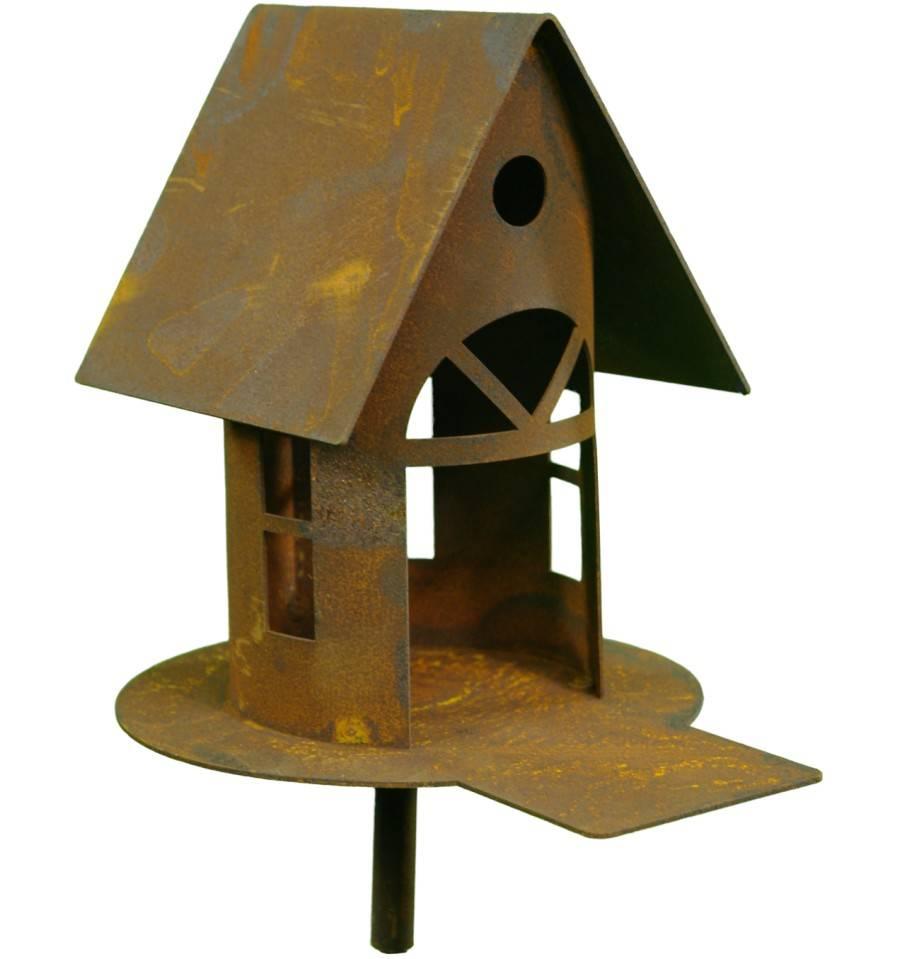 Metall-Gartenstecker Vogeltränke Rostoptik 110 cm Höhe ca
