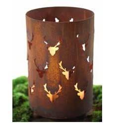 Edelrost Windlicht mit Hirschkopfmuster gross, Höhe 35 cm, Durchmesser 22 cm
