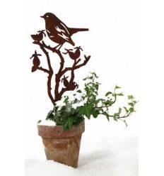 Topf und Gartenstecker Vogel auf Astring aus Edelrost