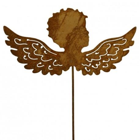 Gartenstecker Engelskind Kopf mit Flügel - Putte