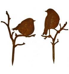 Zwei verschiedene Vögelchen auf Ast, Höhe 24 cm