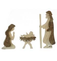 Krippenfiguren, heilige Familie aus Rindenholz, Höhe 10 cm