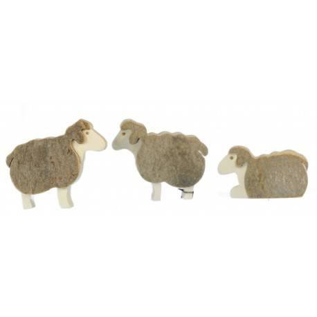Krippenfiguren, 3 Schafe-Set aus Rindenholz, Höhe 6 cm