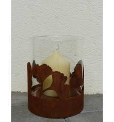 Rost Windlicht Ginkgo 24 cm hoch inkl. Glaseinsatz