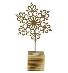 """Teelichthalter-Holz """"Schneeflocke"""", 32 cm hoch"""