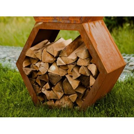 Sichtschutz Holz Wabe 6-eckig Edelrost Höhe 63cm Breite 70cm Tiefe 34cm (groß)