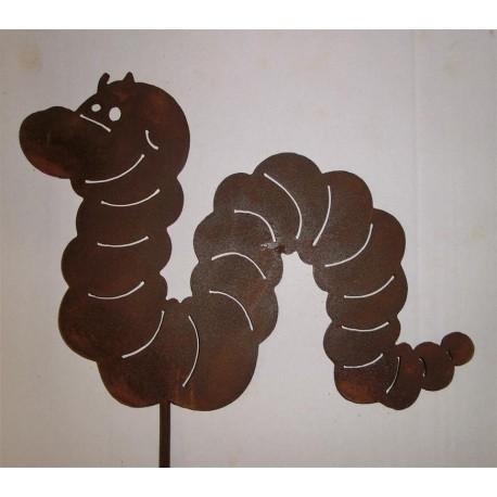lustiger Wurm aus Metall mit Edelrostpatina Beetstecker - Gartenstecker