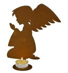 Edelrost Teelichthalter Engel betend mit Kerzentablett am Fuß, Höhe 20 cm