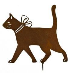 Metallsatz Katze gehend als Baumstecker, zum Einschrauben in Holz, Höhe 19 cm
