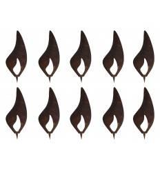 10er Set Flammen 15 cm - Kerzen basteln im Sparpack für Holzstämme bis 25 cm