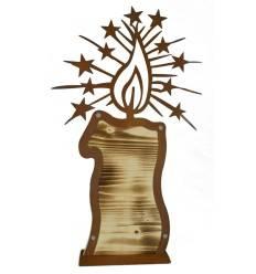 Holz-Wunderkerze mit edelrost Flamme auf Platte, 45,5 cm hoch