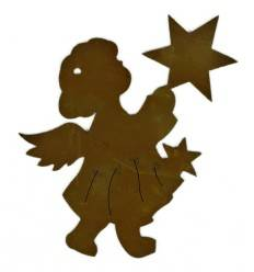 Christbaumschmuck Edelrost-Engel mit Stern Nr. 2, klein, Höhe 8 cm