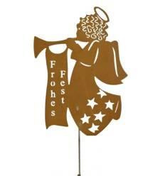 """Engel """"Frohes Fest"""" auf Stab, Höhe 60 cm"""