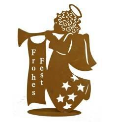 "Engel ""Frohes Fest"" auf Platte, Höhe 60 cm"