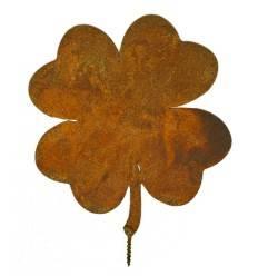 Metallsatz Kleeblatt als Baumstecker, zum Einschrauben in Holz, Höhe 15 cm