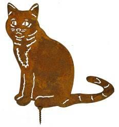 Metallsatz Katze sitzend als Baumstecker, zum Einschrauben in Holz, Höhe 16 cm