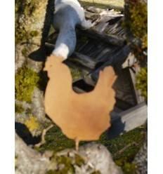 Metallsatz Henne als Baumstecker, zum Einschrauben in Holz, Höhe 9,5 cm