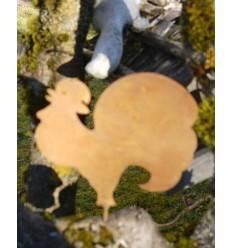 Metallsatz Hahn als Baumstecker, zum Einschrauben in Holz, Höhe 13 cm