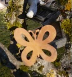 Metallsatz Schmetterling als Baumstecker, zum Einschrauben in Holz, Höhe 11 cm