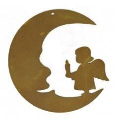 Edelrost Christbaumschmuck Mond mit Engelskind, Höhe 8 cm, Putte Engelsputte