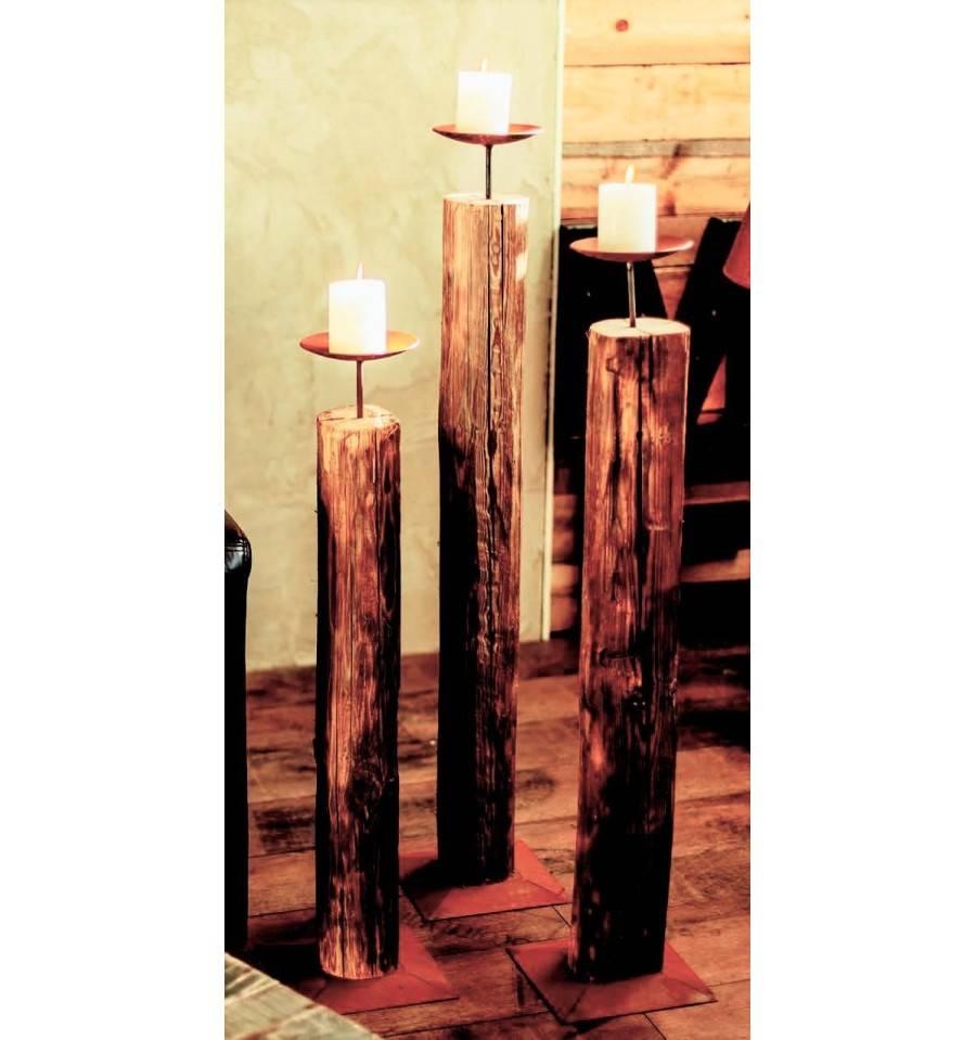 holz-kerzenständer, mittel, 102 cm hoch, Ø 15 cm - metallmichl