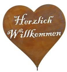 """Herz """"Herzlich Willkommen"""" mit Schraube Höhe 18 cm"""