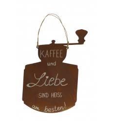 Edelrost Schild mit Spruch: Kaffee und Liebe.... Kaffeemühle zum Hängen Höhe 35 cm