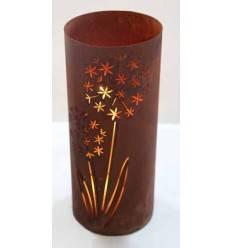 Edelrost Windlicht Allium mit Boden, 43 cm hoch, Ø 18 cm Rostdeko rostig Metall Löwenzahn