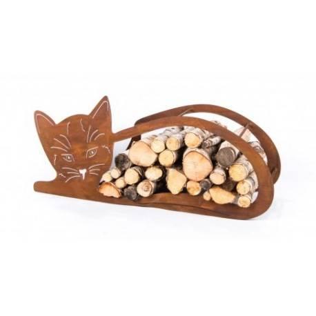 Edelrost Holzregal 'liegende Katze', Höhe 43 cm Holzscheit Ofenholz Feuerholz rostig